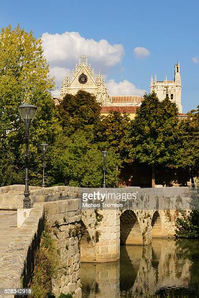 Puentecillas A Reformed Roman Bridge In The 16Th Century Built Over The River Carrion With Cathedral Of Palencia In Background; Palencia Castile-Leon Spain