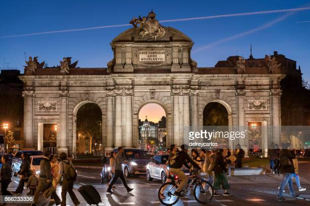 puerta de alcala madrid - madrid stock pictures, royalty-free photos & images