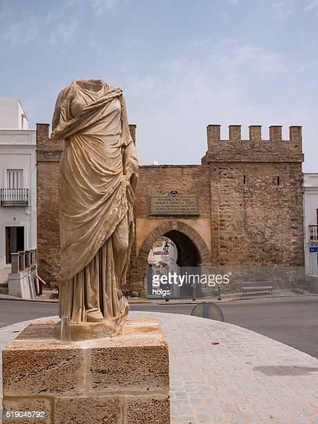 puerta de jerez in tarifa in andalusia, spain - tarifa stock photos and pictures