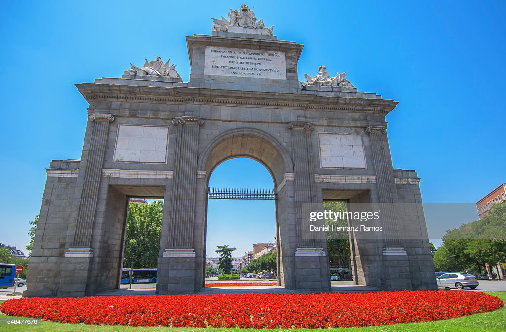 Puerta De Toledo Madrid Spain In A Clear Day And Blue Sky Stock