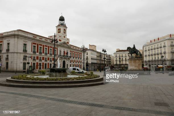 Puerta del Sol in Madrid's city center is seen empty in a Friday morning due to coronavirus crisis and the lockdown of the entire country in Madrid...