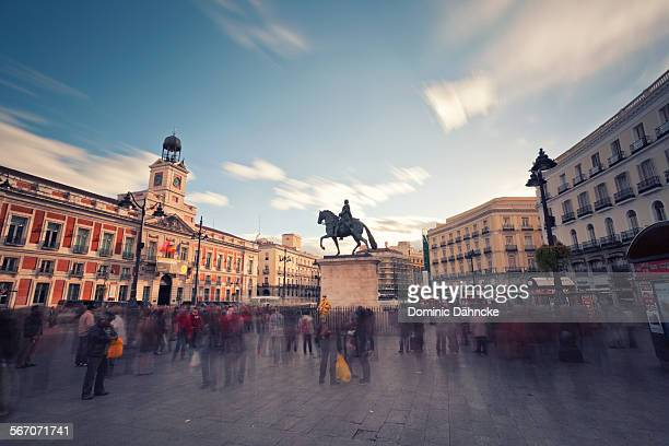 puerta del sol (madrid) - courtyard stock pictures, royalty-free photos & images