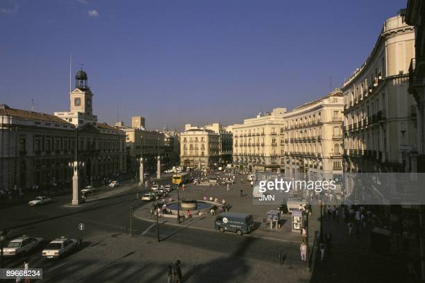 Puerta del Sol Square Madrid Panoramic view of Puerta del Sol Square from Arenal street on a top