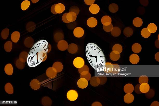 Puerta del Sol's clock sits on regional Madrid government building on December 9 2015 in Madrid Spain Spain's most famous clock Puerta del Sol's...