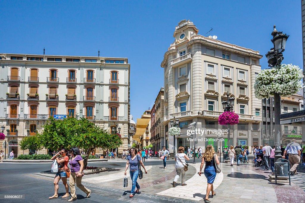Puerta Real Square Granada : Stock Photo