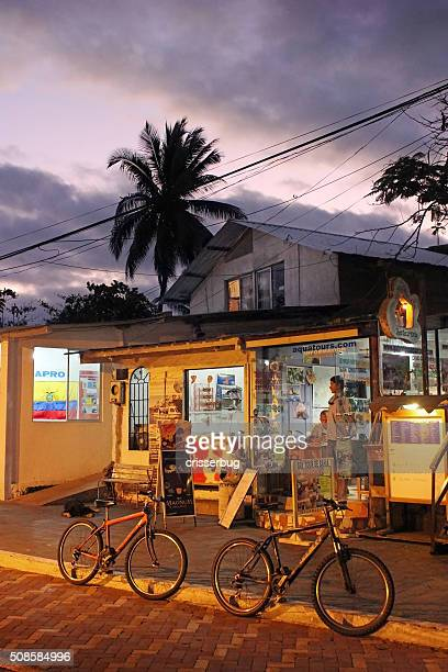 puerto ayora in the galapagos at night - puerto ayora stock pictures, royalty-free photos & images