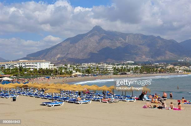 Puerto Banus beach Marbella Malaga province Costa del Sol Andalucia Spain
