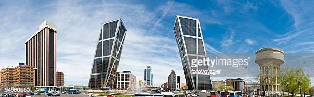 puerto de europa madrid dramatic downtown cityscape panorama skyscrapers spain - madrid stock pictures, royalty-free photos & images