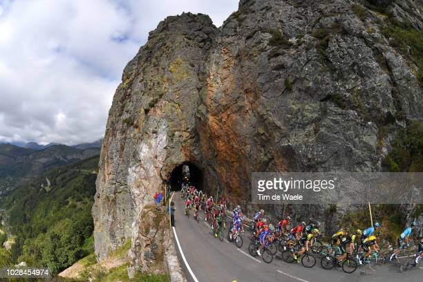 Puerto De Tarna / Landscape / Peloton / Mountains / Tunnel / during the 73rd Tour of Spain 2018 Stage 13 a 1748km stage from Candas Carreno to Valle...