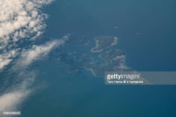 Puerto Galera in Province of Oriental Mindoro in Mindoro Island in Philippines daytime aerial view from airplane daytime aerial view from airplane