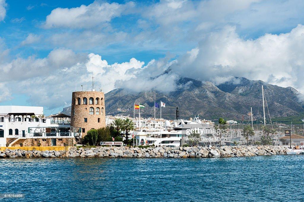 Puerto Jose Banus marina in Marbella, Spain : Foto de stock