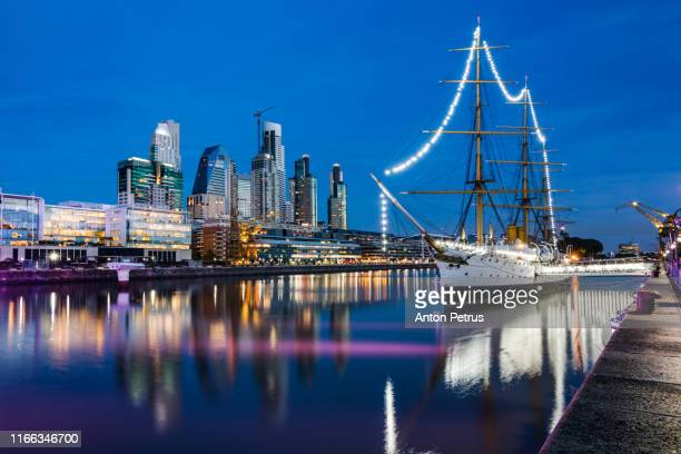 puerto madero. waterfront district view in buenos aires, argentina. - argentina stock pictures, royalty-free photos & images