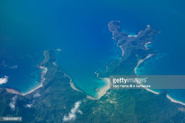 Puerto Princesa in Province of Palawan in Philippines daytime aerial view from airplane daytime aerial view from airplane