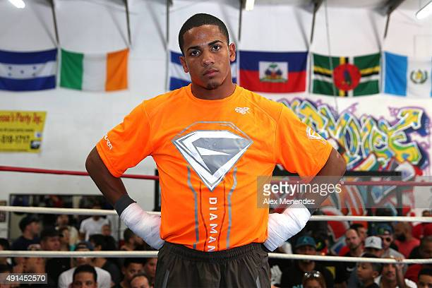 Puerto Rican boxer Felix Verdejo is seen during his media workout event at the Kissimmee Boxing Gym on October 4, 2015 in Kissimmee, Florida. Verdejo...
