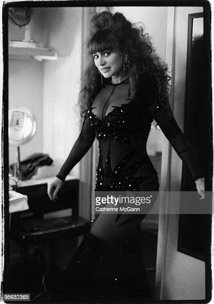 April 1992: Puerto Rican entertainer Iris Chacon poses for a portrait backstage in April 1992 in New York City, New York.