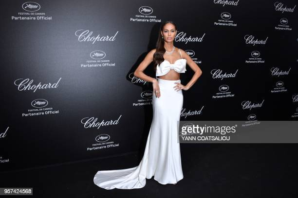 TOPSHOT Puerto Rican model Joan Smalls poses as she arrives on May 11 2018 for the Chopard party on the sidelines of the 71st edition of the Cannes...