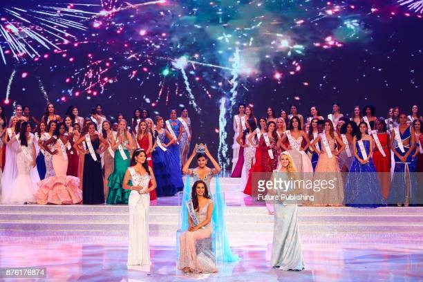 Puerto Rican musician and Miss World 2016 Stephanie Del Valle crowns Manushi Chhillar of India in the award ceremony of Miss World 2017 in Sanya in...
