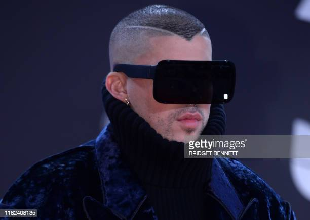 TOPSHOT Puerto Rican musician Bad Bunny arrives at the 20th Annual Latin Grammy Awards in Las Vegas Nevada on November 14 2019