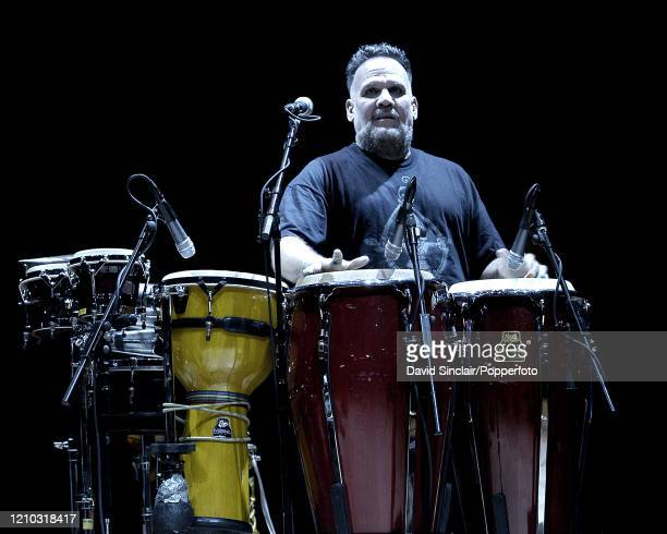Puerto Rican percussioninst Manolo Badrena performs live on stage at The Barbican in London on 3rd May 2004