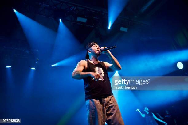 Puerto Rican rapper Rene Perez Joglar aka Residente performs live on stage during a concert at the Columbiahalle on July 12 2018 in Berlin Germany