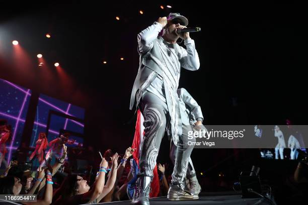 Puerto Rican rapper Wisin performs on stage during the Uforia Latino Mix Live Dallas at Dos Equis Pavilion on August 8 2019 in Dallas Texas