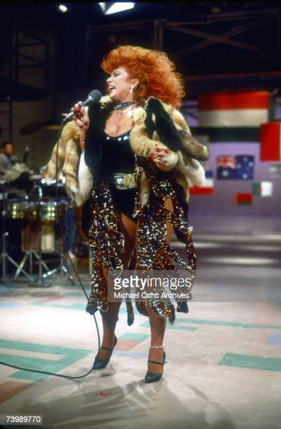 Puerto Rican singer and dancer Iris Chacon performs on Late Nite with David Letterman in 1984 in New York City, New York.
