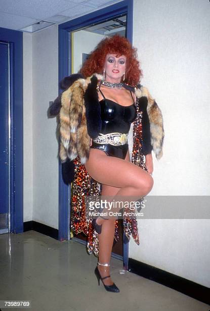 Puerto Rican singer and dancer Iris Chacon poses backstage at Late Nite with David Letterman in 1984 in New York City, New York.