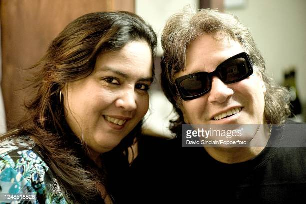 Puerto Rican singer and guitarist Jose Feliciano posed backstage with his wife Susan at Ronnie Scott's Jazz Club in Soho London on 27th September 2010