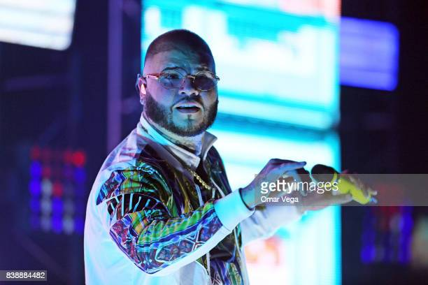Puerto Rican singer and songwriter Farruko performs during the Trap X Ficante USA Tour show at Far West on August 24 2017 in Dallas Texas