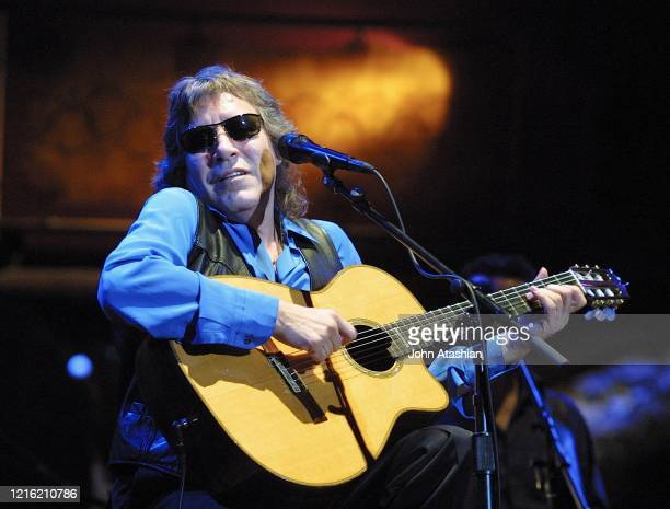 Puerto Rican singer and virtuoso guitarist José Feliciano is shown performing on stage during a live concert appearance on March 28 2004
