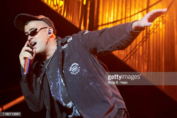 Puerto Rican singer Bad Bunny performs on stage at Rio Babel Festival 2019 on July 04 2019 in Madrid Spain