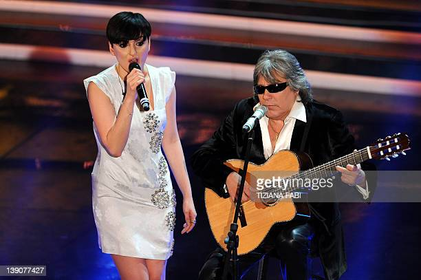Puerto Rican singer Jose Feliciano performs with Italian singer Arisa at the Ariston Theatre in San Remo during the 62nd Sanremo Music Festival on...
