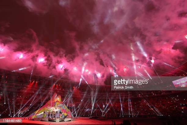 Puerto Rican singer Luis Fonsi performs during the opening ceremony of Lima 2019 Pan American Games at Estadio Nacional on July 26 2019 in Lima Peru