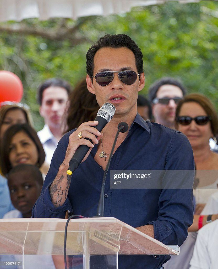Puerto Rican singer Marc Anthony speaks during the opening ceremony of the construction of the Orphanage Children of Christ in La Romana, Dominican Republic on November 23, 2012. AFP PHOTO/Erika SANTELICES