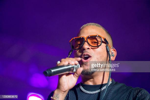 Puerto Rican singer Ozuna performs onstage during the first concert of his Nibiru World Tour on February 14 2020 in Santo Domingo Dominican Republic