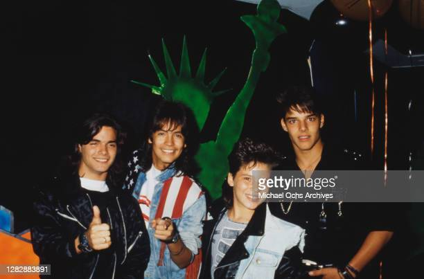 Puerto Rican singer Ricky Martin and current members of Puerto Rican boy band Menudo attend a video party organised by BOP Magazine, held at Club...