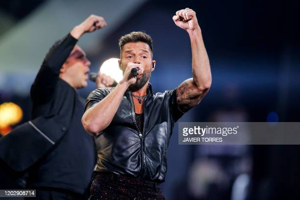 Puerto Rican singer Ricky Martin performs during the 61st Vina del Mar International Song Festival in Vina del Mar, Chile, on February 23, 2020.