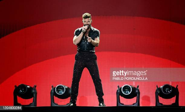 Puerto Rican singer Ricky Martin performs during the Movimiento Tour show at the Antel Arena in Montevideo on March 2 2020