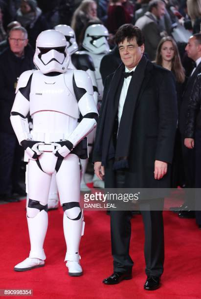 Puerto Rico actor Benicio del Toro poses on the red carpet for the European Premiere of Star Wars: The Last Jedi at the Royal Albert Hall in London...