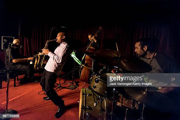 Puerto Rico American Jazz musician Miguel Zenon plays alto saxophone as he leads his quartet onstage at the Village Vanguard New York New York...