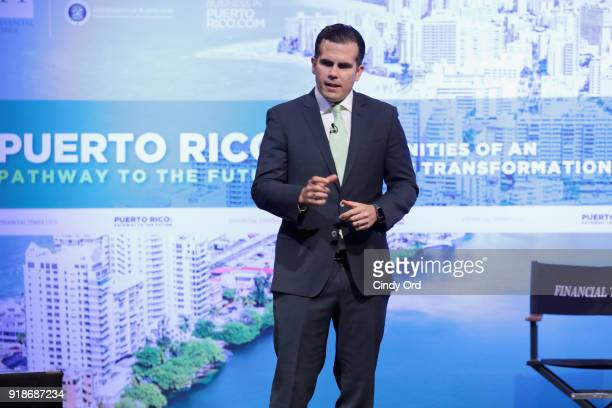 Puerto Rico Governor Ricardo Rossello Nevares speaks onstage during the Pathway To The Future Opportunities Of An Economic Transformation Forum at...