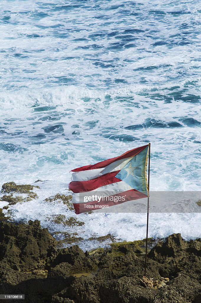 Puerto Rico Old San Juan Flag Of Rice On Sea Coast Stock