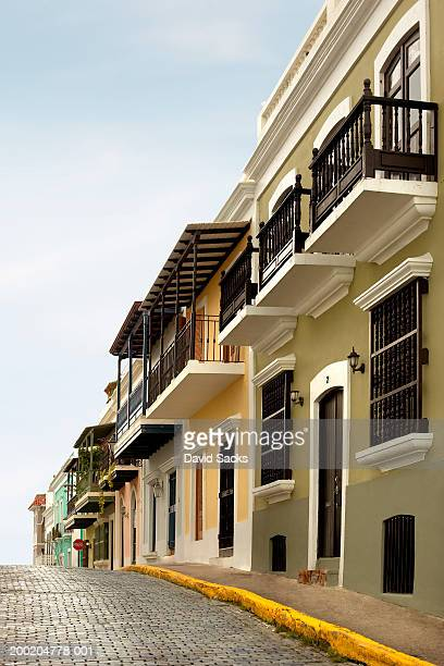 puerto rico, old san juan houses on street - old san juan stock pictures, royalty-free photos & images
