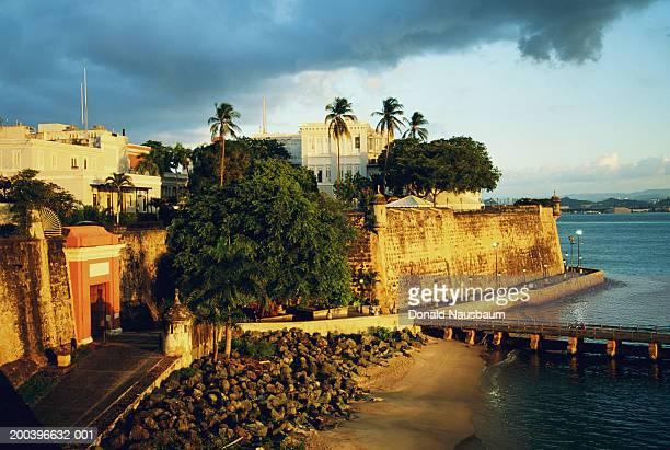 puerto rico, san juan, san juan city gate, elevated view - old san juan wall stock photos and pictures