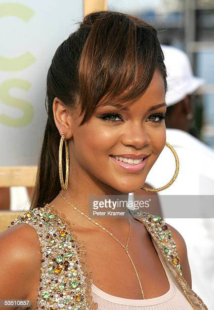 Puerto Rico VJ Rihanna arrives at the 2005 MTV Video Music Awards at the American Airlines Arena on August 28 2005 in Miami Florida
