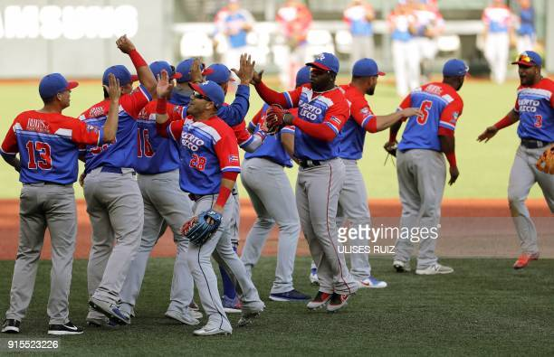 Puerto Rico's Criollos de Caguas players celebrate their passage to the final match against Caribes de Anzoategui of Venezuela during the Caribbean...