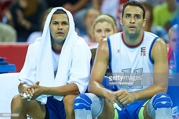 Puerto Rico's Jackson Rivera rests on the bench during the FIVB World Championships match between Belgium and Puerto Rico at Cracow Arena on...