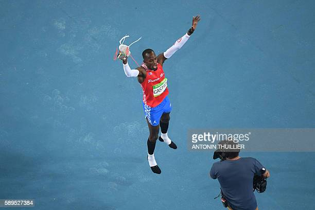 Puerto Rico's Luis Castro competes in the Men's High Jump Qualifying Round during the athletics event at the Rio 2016 Olympic Games at the Olympic...