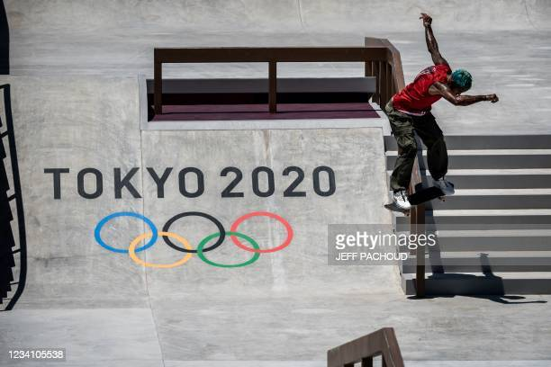 Puerto Rico's Manny Santiago practices at Ariake Urban Sports Park ahead of the Tokyo 2020 Olympic Games in Tokyo, on July 22, 2021.
