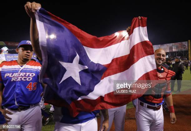 Puerto Rico's players of Criollos de Caguas celebrate after the final of Caribbean Baseball Serie at the Charros Jalisco stadium in Guadalajara...